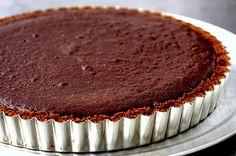 dark chocolate tart with gingersnap crust | Brit + Co.