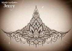 sternum underboob tattoo design idea, mandala, mendi, lotus flower.