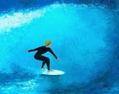 """Beach Painting """"The Surfer"""" catches the big wave!"""