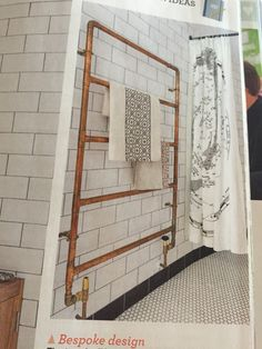 Ideal home magazine March issue- bespoke copper pipe towel rail