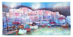 "Place in Contest ""Travel in March Paros Harbor Greece, Watercolor Painting by Sabina von Arx, Switzerland, Greece my big love agapimou! This is a scenic harbor on Paros. This painting is available as art print and the motive is on different home decors. Harbor Beach, Fine Art Prints, Canvas Prints, Large Beach Towels, Thing 1, In Ancient Times, All Poster, Greek Islands, Beautiful Artwork"