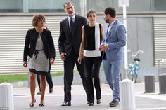 The Royals and Dolors Montserrat (L) are seen arriving to the Mar de Barcelona hospital earlier this afternoon