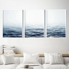 Set of 3 Ocean Prints. Amazing Home decor for your living room or office. Ocean Wall Art, Ocean Waves, Beach Decor, Coastal Art Print, Blue Sea, Nautical Art Print, Printable Art is an easy way to decorate your living space. Print, frame, hang...