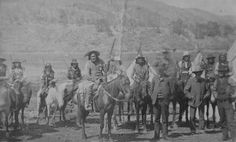 Mescalero Apache Chief San Juan with 10 Mescalero men on horses, Chief Domingo appears to be right of center, New Mexico Mescalero Reservation, approx. 1883. Photographer: Edwin A. Bass.