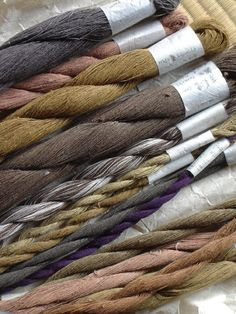 Karuno dyes her precious yarns using only botanical dyes: indigo, loquat, safflower, gardenia and chestnut are among the dyestuffs that lend color to her specialized yarns