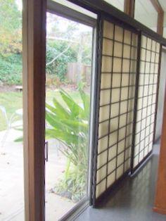 How easy to create privacy using shoji screen sliding panels!