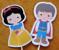 Princess Snow White and Prince Cupcake Toppers- 12 Pieces