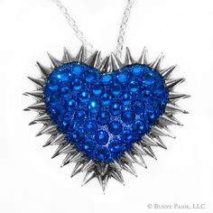Capri Blue Pavèd & Spiked Heart Necklace // made by BunnyPaige, $70.00