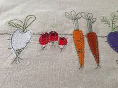 Root Vegetables Hand Towel  -- handmade by janeshand.com!
