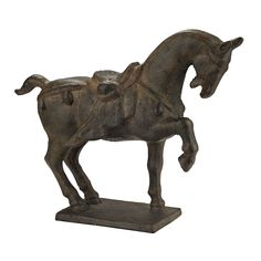 "$198  Ming Horse Statue design by Lazy Susan 11""l x 4""w x 9""h  hand forged iron"