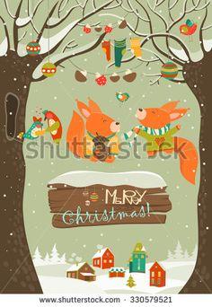 Cute squirrels celebrating Christmas. Vector greeting card