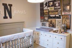 Vintage Baseball Nursery Name above crib