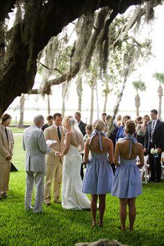 southern wedding - seersucker bridesmaids dress