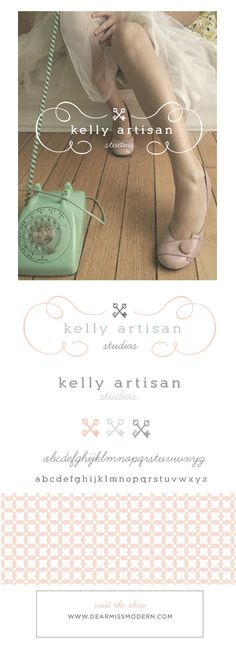 Featured: The Kelly Logo paired with a Le Pattern Graphique. Layered PSD files allow for color changes and the use of individual elements. Font information and instructions included, 15 designs available, instant download. www.dearmissmodern.com. Pretty   Smart.