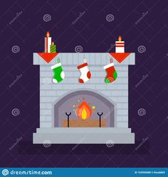 Illustration about Fireplace, flat vector.Christmas, decorated with socks and candles for decoration. Illustration of decorated, candles, decorationeps - 163555688 Flat, Winter Collection, Symbols, Candles, Illustration, Decor, Bass, Decoration, Icons