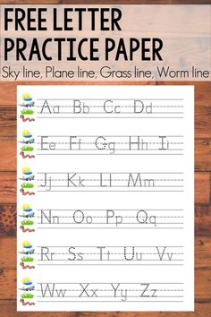 Teach your little ones how to write with this letter practice printable! It's Fundations-style, with a sky line, plane line, grass line, and worm line. Handwriting Practice Free, Kindergarten Handwriting, Alphabet Writing Practice, Kindergarten Writing, Homeschool Kindergarten, Handwriting Worksheets, Sentence Writing, Literacy, Kindergarten Lined Paper