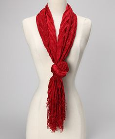Take a look at this Red Puff Zigzag Scarf by Suvelle on #zulily today!