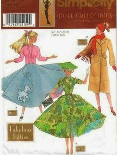 SIMPLICITY Doll Collector's Club Number 9840 - 1950's Style clothing for Barbie