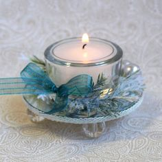Tea Light Candle Holder Glass Aqua Silver Berries by rrizzart,