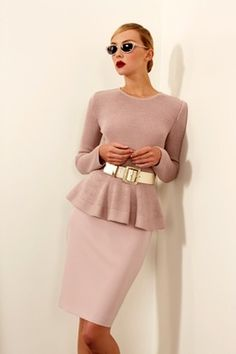Love the gold belt;blush pink and peplum! Real Women Try the Trend: Business Chic - Page 35 of 40 - Fashion Style Mag Fashion Casual, Look Fashion, High Fashion, Fashion Show, Womens Fashion, Fashion Trends, Fashion Fashion, Office Fashion, Business Chic