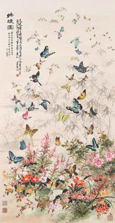 ideas for chinese bird embroidery butterflies Japanese Art Prints, Japanese Artwork, Japanese Painting, Korean Art, Asian Art, Chinese Painting Flowers, Chinese Flowers, Japon Illustration, Botanical Illustration
