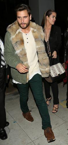 Scott Disick wearing Kanye's jacket
