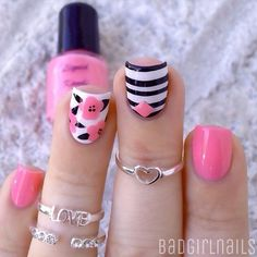 Need some nail art inspiration? browse these beautiful nail art designs and get inspired! Cute Pink Nails, Pink Nail Art, Cute Nail Art, Fabulous Nails, Gorgeous Nails, Pretty Nails, Get Nails, Hair And Nails, Uñas Fashion