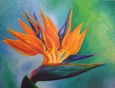 bird of paradise, oil on canvas