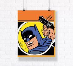 Superhero Action Panel Original Batman Wall Art from the