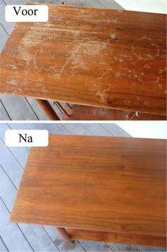 Meng ½ kop azijn met ½ kop olijfolie en breng dit aan met een doek op het hout. Wrijf het goed in en het oppervlak zal er snel uitzien als nieuw.