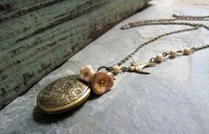 Vintage Style Locket Necklace Floral Oval Locket by StefenyStanyer