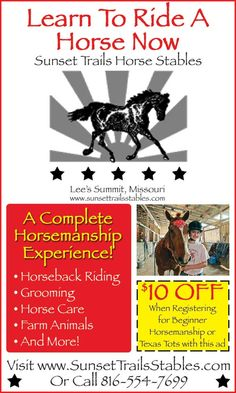 Learn to ride a horse at Sunset Trails Horse Stables and get $10 OFF with this coupon!  // For more family resources visit www.tots-tweens.com! :)