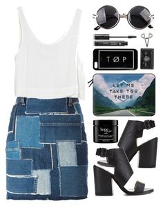 """""""Patchwork denim skirt"""" by gangsterwizard ❤ liked on Polyvore featuring Yves Saint Laurent, Miss Selfridge, MINKPINK, Casetify, The 2 Bandits, philosophy and LashFood"""