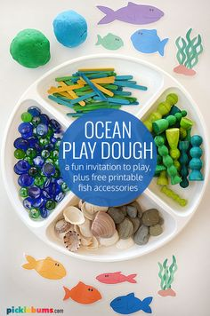 Set up this ocean playdough, with the free printable fish accessories, for an easy activity for kids and a fun way to learn about the ocean, or beach. Mini Craft, Craft Stick Crafts, Crafts For Kids, Sea Life Crafts, Sand Dough, Printable Fish, Playdough Activities, Summer Activities For Kids, Creative Play