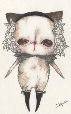 Original Floral Sadness shepurr pop surrealism art por ShePurr, €50.00