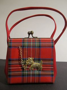 Vintage child's red plaid purse with a metal Scottie dog on a chain.
