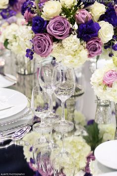 Purple and Lavender Wedding Details + Mercury Glass Votives / Alante Photography