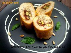 pa mojar pan!: Rollitos de pollo con tomates y frutos secos