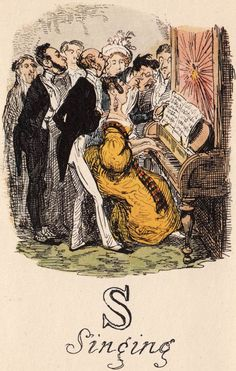S: Singing.Comic Alphabet. Designed, etched, and published byGeorge Cruikshank(English, 1792-1878), 1836.In the 1830's Cruikshankbegan campaigning against the abuses of alcohol, especially gin. In 1847 he renounced all alcohol and became an enthusiastic supporter of the Temperance Society in Great Britain, a sharp contrast to his early years when the wee hours of the morning often found him locked up in police custody for being drunk in public.