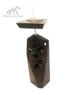 Zen Art Candle Holder OOAK Abstract Wooden by NikibarsNatureArt