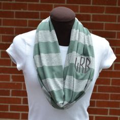 Monogrammed Infinity Scarf Green and Gray Stripe Game Day on Etsy, $25.00