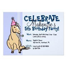 Blue Party Pony Girls Birthday Personalized Invitation