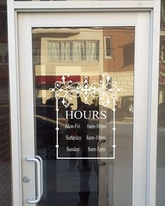 Store Front Sign with Your Hours-Vinyl Decal- Store- Sign- Store Display- Decal- Boutique- Business- Sign Hours of Operation by landbgraphics on Etsy