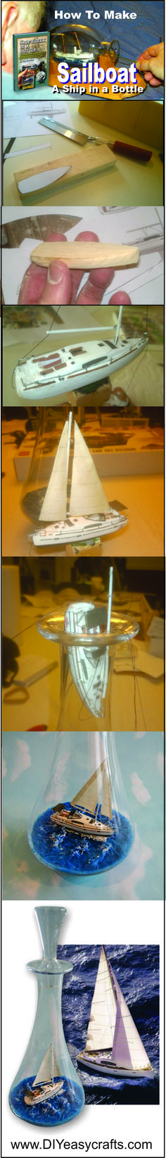 How to build a Ship in a Bottle Sailboat. This short video shows the process of building one of these miniature sailboats. Its not as hard as it looks. With a little practice you can create your own maritime masterpiece. http://www.diyeasycrafts.com/