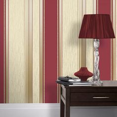 This Synergy Stripe Wallpaper by Vymura in rich red, gold and cream has matte, metallic and glitter elements to give the traditional design a modern twist. Striped Wallpaper Texture, Tartan Wallpaper, Glitter Wallpaper, Paper Wallpaper, Vinyl Wallpaper, Trendy Wallpaper, Stripe Wallpaper, Retro Wallpaper, Wallpaper Decor