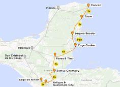 Kostenloser Backpacking-Guide für eine Reise von den Karibikstränden Yucatáns bis ins Herz der Maya-Kultur. Inklusive Reiseroute Mexiko, Belize, Guatemala