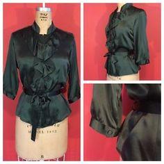 Anthropologie Built by Wendy Emerald Green Satin Ruffled Tie Waist Blouse Small   eBay