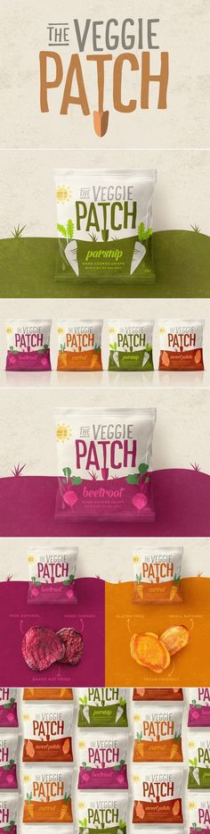 The Veggie Patch - Crisps/chips branding and packaging design created by design studio, Our Revolution