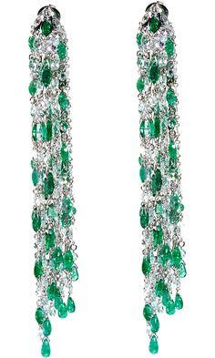 Waterfall Earrings - Sidney Garber (Romancing the Stone Earrings Teardrop/drop Green Gold - White Push back Emerald Silver - color Diamond)