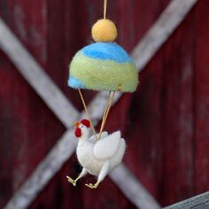 Parachuting Leghorn Chicken  Needle Felted by BossysFeltworks,